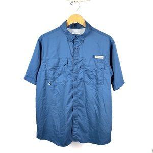 Columbia Men PGF Sports Fishing Blue Shirt M 1016